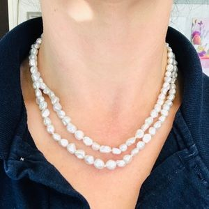 Double Strand Freshwater Pearl Toggle Necklace